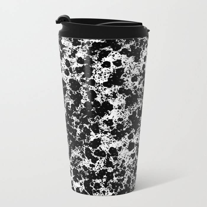 Peppered - Abstract, black and white paint splats Metal Travel Mug