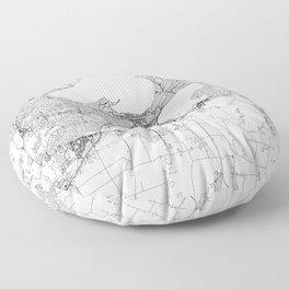Madison White Map Floor Pillow