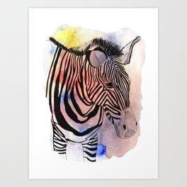 866b46ef5 zebra in loose watercolors and ink Art Print
