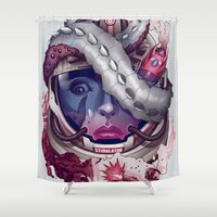 contact Shower Curtains featuring Contact by Chris B. Murray