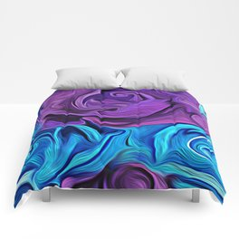Turquoise and Violet Rose Comforters