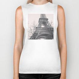Eiffel tower, Paris, black & white photo, b&w fine art, tour, city, landscape photography, France Biker Tank