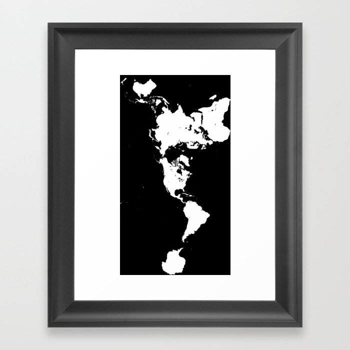 Dymaxion world map fuller projection map minimalist white on dymaxion world map fuller projection map minimalist white on black framed art print gumiabroncs Images