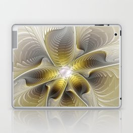 Gold And Silver, Abstract Flower Fractal Laptop & iPad Skin