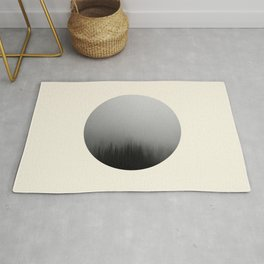 Spooky Foggy Forest Round Photo Rug