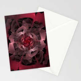 Abloom in Lusciously Crimson-Red Petals of a Rose Stationery Cards