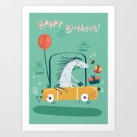 happy birthday Art Prints featuring Happy birthday! by Villie Karabatzia
