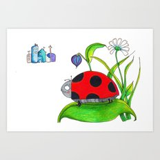 Ladybug dreaming big city dreams Art Print