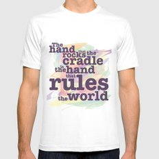 The Hand that Rocks the Cradle... SMALL White Mens Fitted Tee