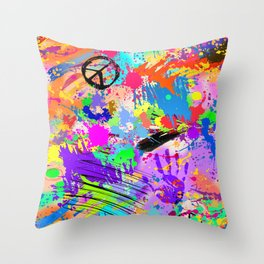 Psychodelic Hipppie Abstract Painting Throw Pillow