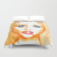 ali gulec Duvet Covers featuring Ali Orange by Kim Ly