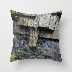 Fountain and Koi Throw Pillow