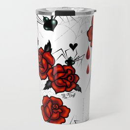 Black Widow Spider with Red Rose Travel Mug