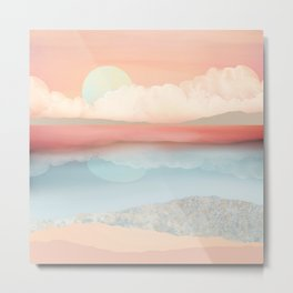Mint Moon Beach Metal Print