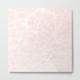 Contemporary  White Line Art on Pink-Mix & Match with Simplicity of life Metal Print
