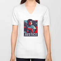 justice V-neck T-shirts featuring Justice by Astrobunny