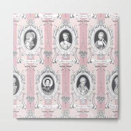 Science Women Toile de Jouy - Pink Metal Print