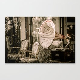 Sit Down by the Victrola Canvas Print