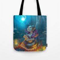 return Tote Bags featuring Return by El Zapata