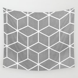 Light Grey and White - Geometric Textured Cube Design Wall Tapestry