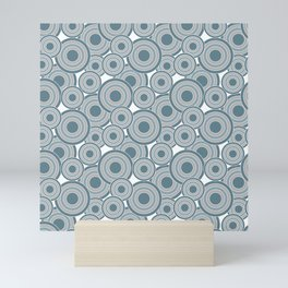 Overlapping Circles in Slate Blue and Gray Mini Art Print