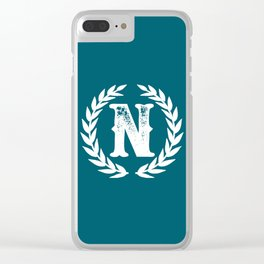 Dark Teal Monogram: Letter N Clear iPhone Case