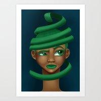 Green Swirls Art Print