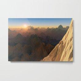 Mountain Range Sunset Landscape Metal Print