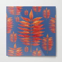 Staghorn Sumac leave on blue Metal Print