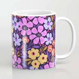 09 Anazing Floral pattern. Dark blue background. Lilac flowers. Coffee Mug