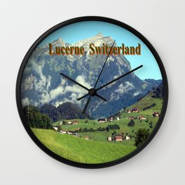 Green countryside of Lucerne Switzerland Wall Clock