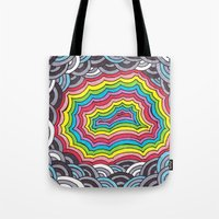 geode Tote Bags featuring Rainbow Geode by Audrey Pixel Designs
