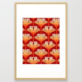 Art Deco Lily, Mandarin Orange and Gold Framed Art Print