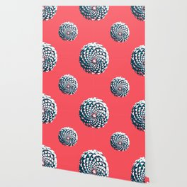 pine cone pattern in coral, aqua and indigo Wallpaper
