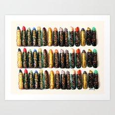 Glitter Lipsticks Art Print