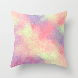 Artsy Abstract Pink Purple Neon Paint Splatter Throw Pillow