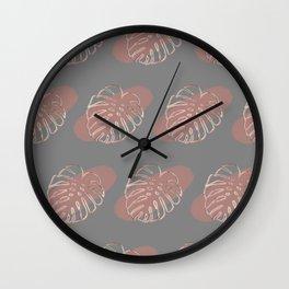 Bold Monstera Leaves  Wall Clock