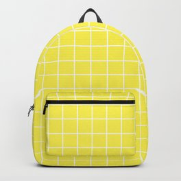 Lemon yellow - yellow color - White Lines Grid Pattern Backpack