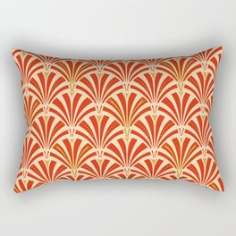 Art Deco Fan Pattern, Mandarin Orange Rectangular Pillow