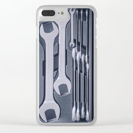 Set of Wrenches inside Toolbox, Keys and Spanners, Box with Set of Tools, Set Mechanical Tools. Clear iPhone Case