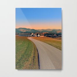 Country road into beautiful panorama | landscape photography Metal Print