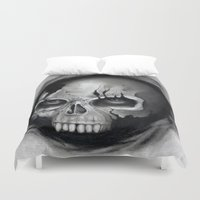 skull Duvet Covers featuring Skull by Puddingshades