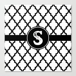 Black Monogram: Letter S Canvas Print