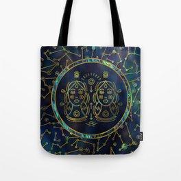 Gemini Zodiac Gold Abalone on Constellation Tote Bag
