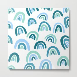 Rainbow Pattern Blue Metal Print