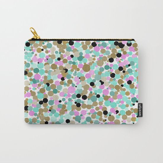 Dotty - dots in pink, teal, and gold. Carry-All Pouch