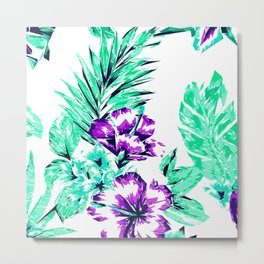 Vibrant Abstract Purple and Teal Tropical Flowers Metal Print