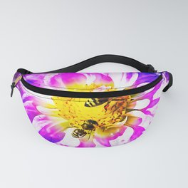 bees on flower splatter watercolor Fanny Pack