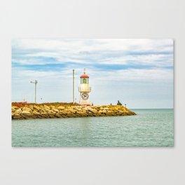Lighthouse at Rock Breakwater Salinas Ecuador Canvas Print