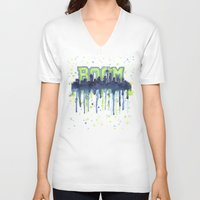 seahawks V-neck T-shirts featuring Seattle 12th Man Seahawks Painting Legion of Boom Art by Olechka